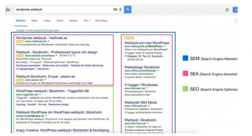 How SEM, SEA and SEO are distributed in Google search results